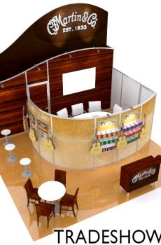 20x20 Peninsula Island with Private Meeting Room and Workstations by TradeShowMall.com